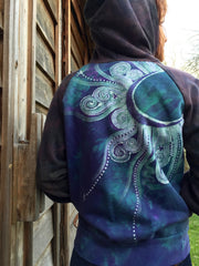 Teal and Purple Tree Mandala Handmade Batik Hoodie - Women's Size XL - Batikwalla   - 3