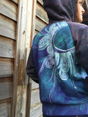 Teal and Purple Tree Mandala Handmade Batik Hoodie - Women's Size XL - Batikwalla   - 4