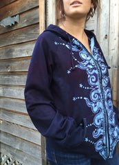 Very Formal Swirly Stars Handmade Batik Hoodie - Batikwalla   - 3