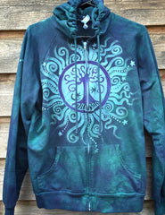 Teal and Purple Tree of Life Handmade Batik Hoodie - Batikwalla   - 6