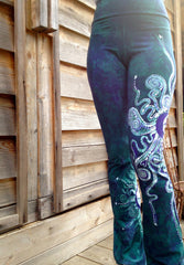 Teal and Purple Om Batik Yoga Pants - Batikwalla   - 4