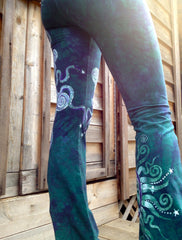 Teal and Purple Om Batik Yoga Pants - Batikwalla   - 5