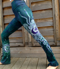 Teal and Purple Om Batik Yoga Pants - Batikwalla   - 9