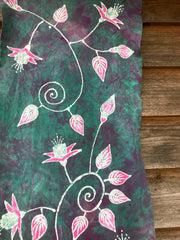 Lovely Fuchsias In Light Teal - Hand Painted Batik Fabric Scarf