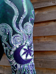 Teal and Purple Om Batik Yoga Pants - Batikwalla   - 6