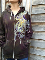 Deepest Gold and Purple Moon Star Organic Cotton Batik Hoodie - Batikwalla   - 2