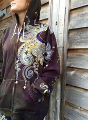Deepest Gold and Purple Moon Star Organic Cotton Batik Hoodie - Batikwalla   - 3