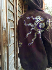 Deepest Gold and Purple Moon Star Organic Cotton Batik Hoodie - Batikwalla   - 4