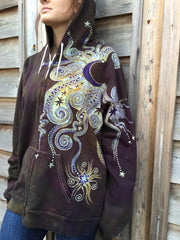 Deepest Gold and Purple Moon Star Organic Cotton Batik Hoodie - Batikwalla   - 5