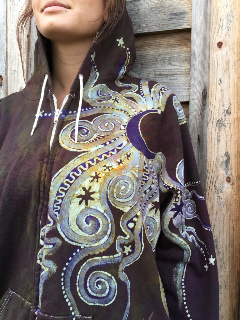 Deepest Gold and Purple Moon Star Organic Cotton Batik Hoodie - Batikwalla   - 1
