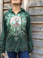 Green Forest Tree of Life Handmade Batik Hoodie - Men's (Unisex) Size Large - Batikwalla   - 3