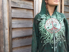 Green Forest Tree of Life Handmade Batik Hoodie - Men's (Unisex) Size Large - Batikwalla   - 1