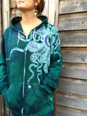 Teal and Purple Moon Organic Cotton Batik Hoodie - XL Men's (Unisex) - Batikwalla   - 2