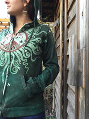Green Forest Tree of Life Handmade Batik Hoodie - Batikwalla   - 1