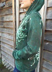 Green Forest Tree of Life Handmade Batik Hoodie - Men's (Unisex) Size Large - Batikwalla   - 4