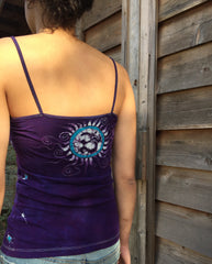 Purple and Turquoise Om Stretchy Batik Vneck Tanktop - Batikwalla   - 3