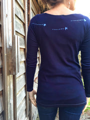 Navy Blue Center Moon & Triple Star Long Sleeve Batik Top - Batikwalla   - 2