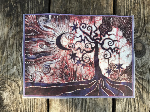 Tree Loves The Moon Batik Fabric Print