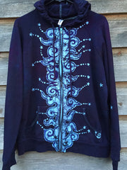 Very Formal Swirly Stars Handmade Batik Hoodie - Batikwalla   - 4