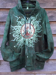 Green Forest Tree of Life Handmade Batik Hoodie - Batikwalla   - 2