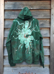 Green Forest Tree of Life Handmade Batik Hoodie - Batikwalla   - 4