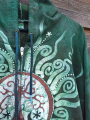 Green Forest Tree of Life Handmade Batik Hoodie - Batikwalla   - 3