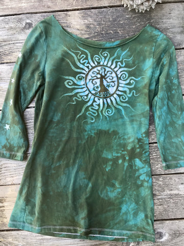 Earthy Moss Tree Mandala Batik Top