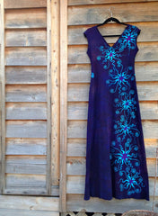 Deep Blue and Purple Organic Cotton Batik Dress - Batikwalla   - 6