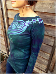 Stars Upon Your Shoulders in Deep Teal Long Sleeve Batik Top - Batikwalla   - 1