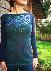 Stars Upon Your Shoulders in Deep Teal Long Sleeve Batik Top - Batikwalla   - 4