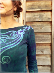 Stars Upon Your Shoulders in Deep Teal Long Sleeve Batik Top - Batikwalla   - 6