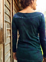 Stars Upon Your Shoulders in Deep Teal Long Sleeve Batik Top - Batikwalla   - 5