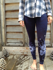 Navy Blue Moon Star Batik Leggings - Batikwalla   - 3