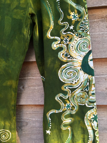 Dancing Green Handmade Batik Yoga Pants - Size XL