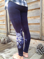 Navy Blue Moon Star Batik Leggings - Batikwalla   - 2