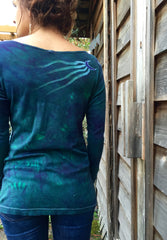 Tree Of Life in Teal and Purple Long Sleeve Batik Top - Size Medium - Last One - Batikwalla   - 6