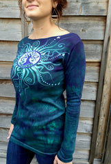 Tree Of Life in Teal and Purple Long Sleeve Batik Top - Size Medium - Last One - Batikwalla   - 2