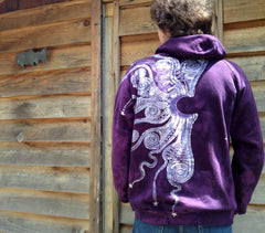 Purple Tree of Life Organic Cotton Batik Hoodie - Batikwalla   - 4