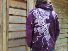 Purple Tree of Life Organic Cotton Batik Hoodie - Batikwalla   - 6
