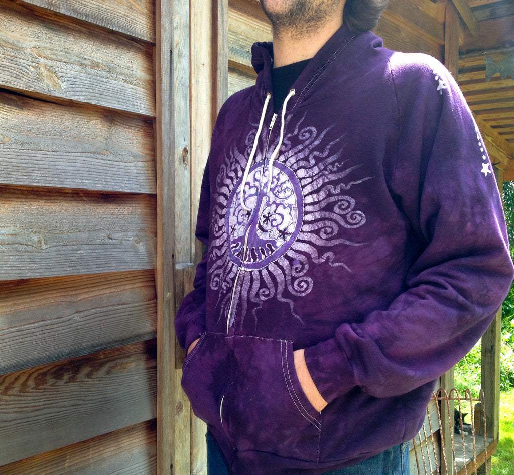Purple Tree of Life Organic Cotton Batik Hoodie - Batikwalla   - 1