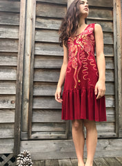 Fire Dancer Red Batikwalla Dress in Organic Cotton - Size Small