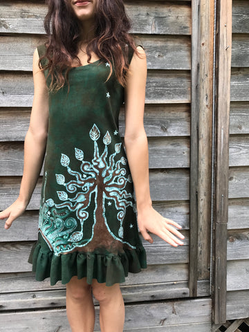 Dancing Green in The Forest Batikwalla Mini Dress in Organic Cotton