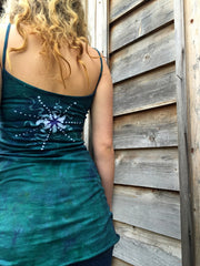Teal and Purple Moon Star Batik Long Cotton Camisole - Batikwalla   - 5