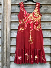 Firecracker Red Paisley Peace Power Batikwalla Dress in Organic Cotton - Size Large
