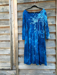 Blue Tree of Life Long Sleeve Batik Dress - Batikwalla   - 4