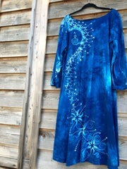 Blue Tree of Life Long Sleeve Batik Dress - Batikwalla   - 6