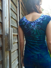 Teal and Purple Moon Batik Summer Necklace Tee - Batikwalla   - 5