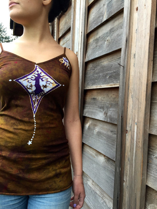 Diamond Tree in Dark Gold Long Summer Batik Camisole - Batikwalla   - 1