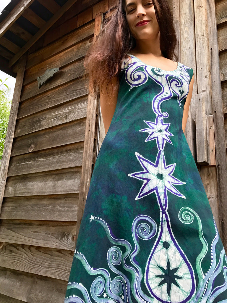 Teal and Purple Tribal Sunrise Batikwalla Dress in Organic Cotton - Size Small/Medium