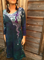 Teal and Purple Canyon Tree - Long Sleeve Batik Dress - Size Medium - Batikwalla   - 3